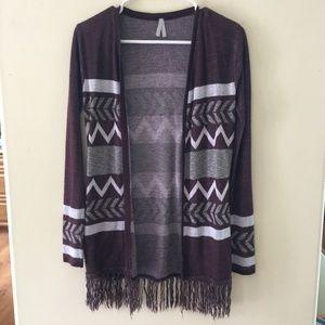 Cardigan sweater in maroon/gray/ cream sz XS